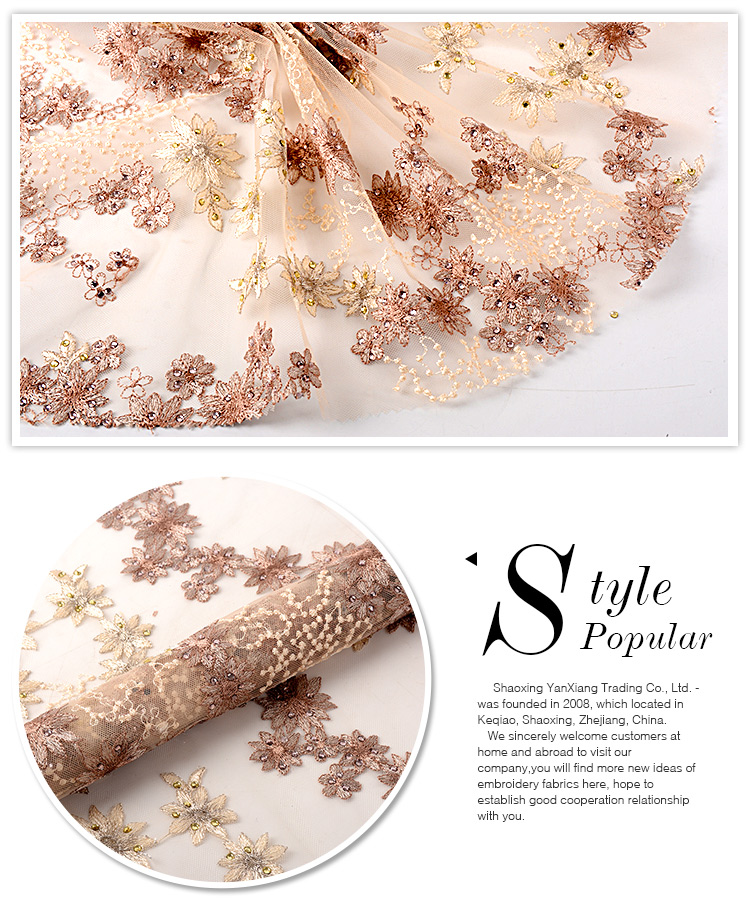Online shopping beautiful soft poly beaded crystal rhinestone lace fabric