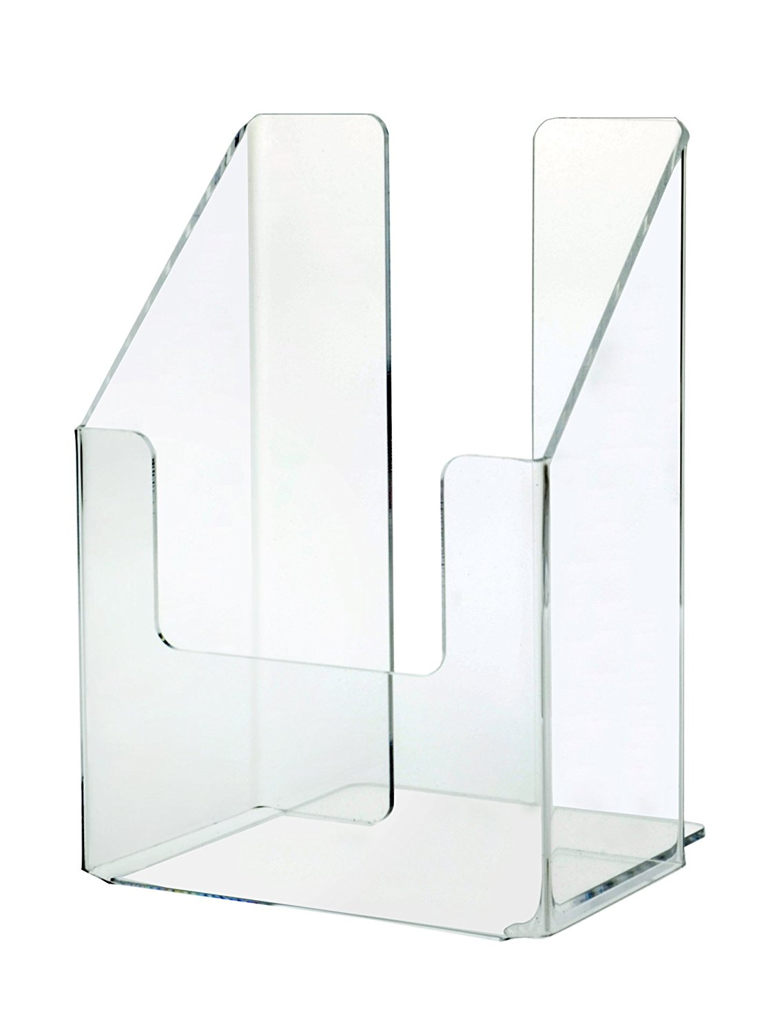 Marketing Holders Clear Acrylic Single Pocket Brochure Holder for 4 Inch Wide Literature, Tri-fold Brochures, and Pamphlets, Wall Mount or Countertop (Lot of 24)