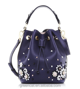 2017 Navy Blue Floral Flower Pu Leather Drawstring Price Bucket Bonia Designer Leather Bags ...