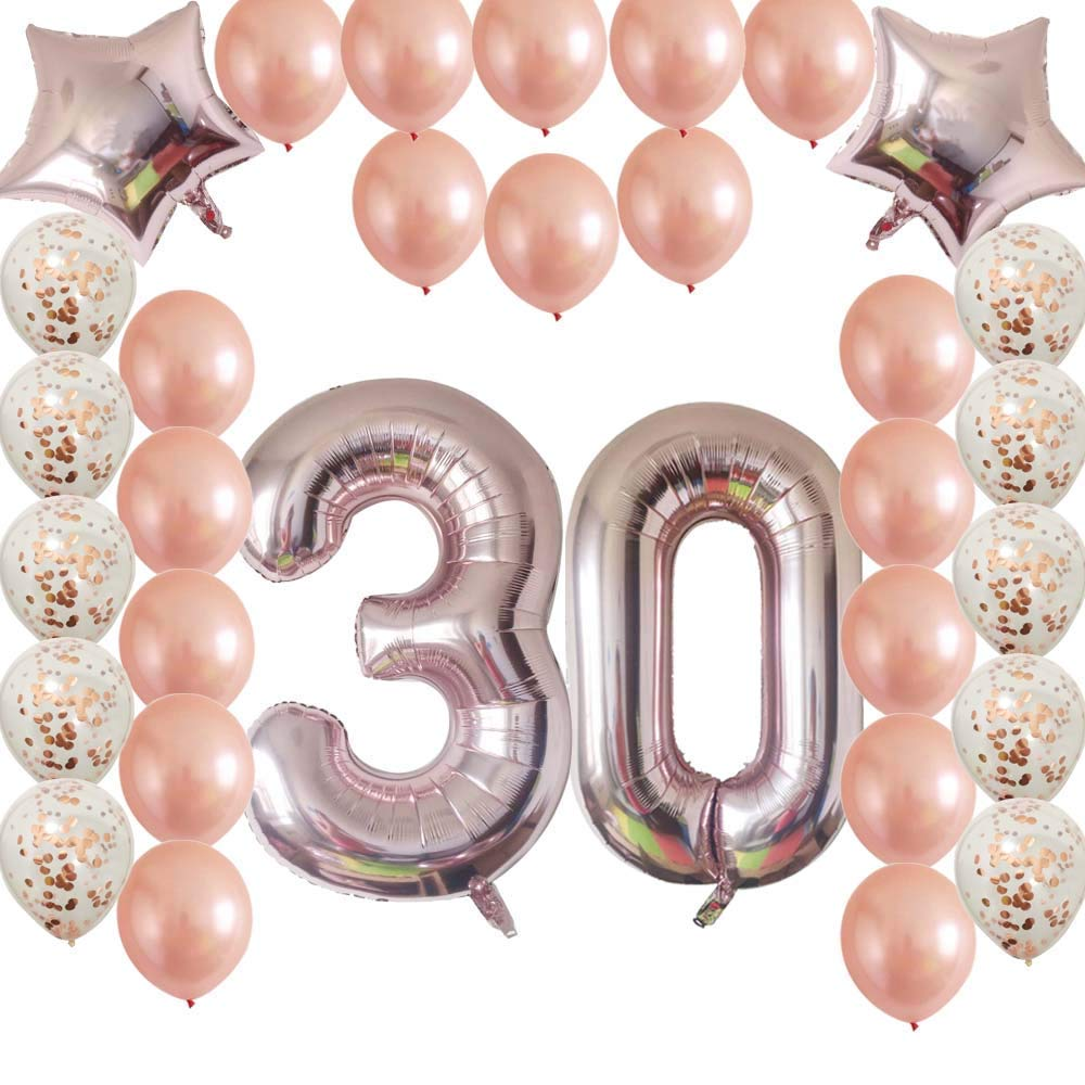 Get Quotations Cheeringup Rose Gold Vintage Happy 30th Birthday Decorations Banner With Confetti Latex Balloons Kit As Gift