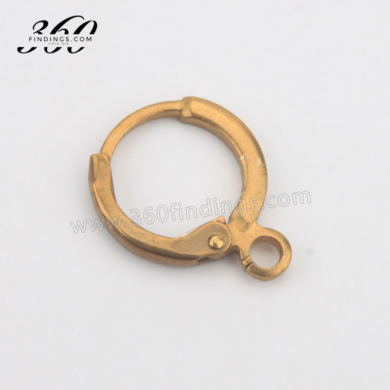 Round Shape Gold Earring Clip Finding with Hanging Loop