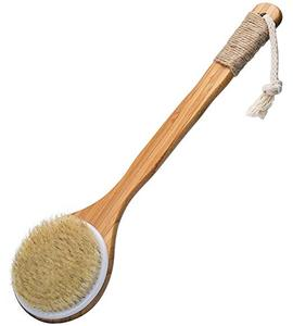 Bath Dry Body Brush-Natural Bristles Back Scrubber with Long Wooden Handle for Cellulite & Exfoliating by Vamix (15.7)