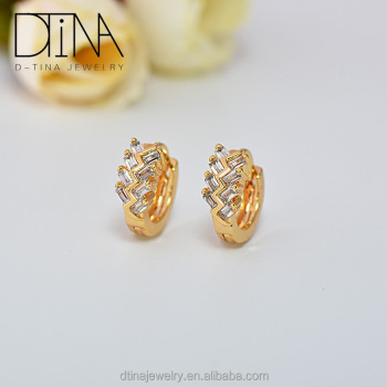 Dubai Gold Design Plated Gem Small Earrings
