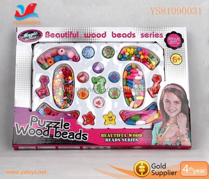 New style wooden toy children self stringing bracelet with bead