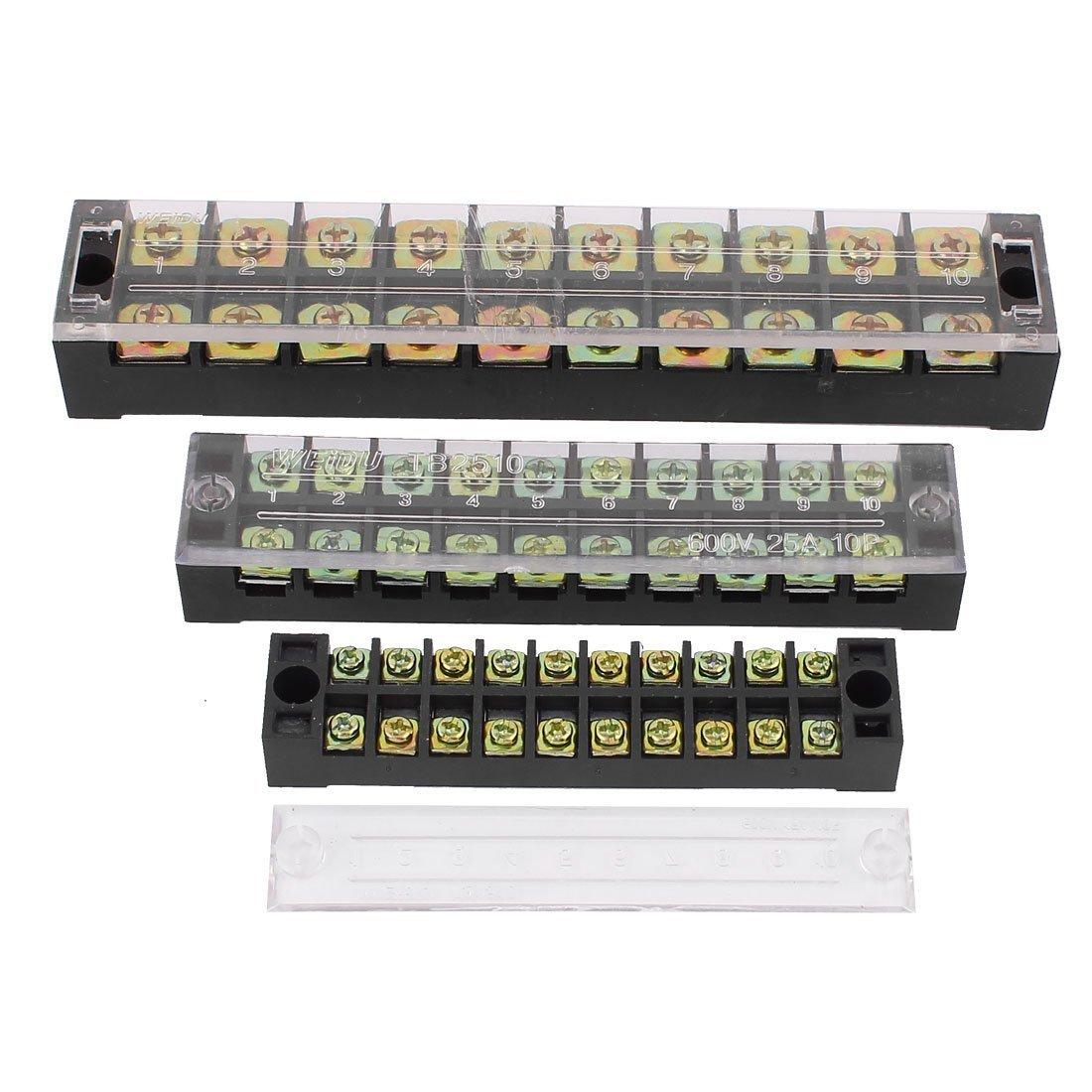 3Pcs 600V 15A/25A/45A 2 Row 10 Positions Barrier Terminal Strip Block
