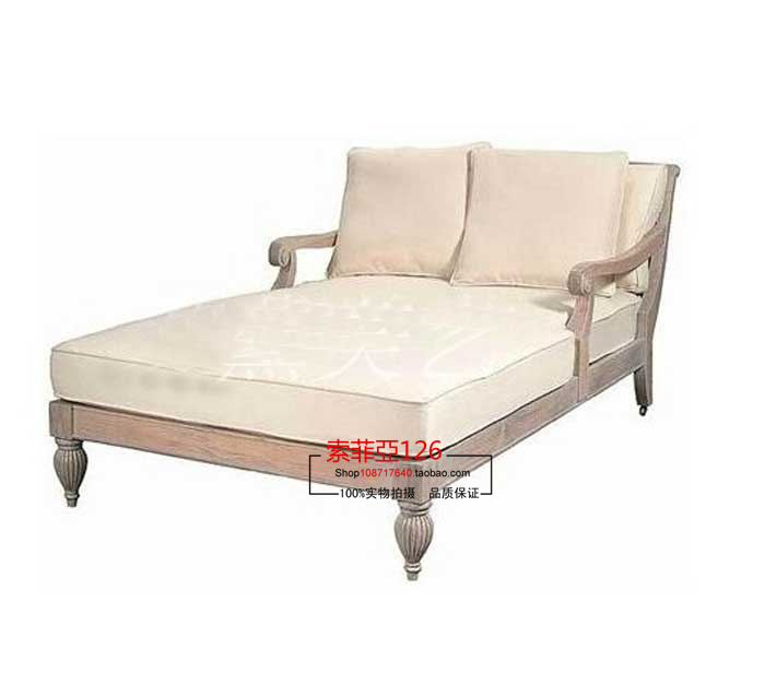 do the old vintage french american casual double reclining position linen fabric sofa chaise. Black Bedroom Furniture Sets. Home Design Ideas