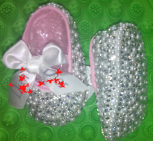 free shipping rhinestone Crystal Baby Girl Child shoes pearl handmade Bling diamond First Walkers bowknot bead