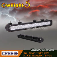 super bright waterproof ip68 20 inch cree single row 120W led light bar OWLLIGHTS lighting