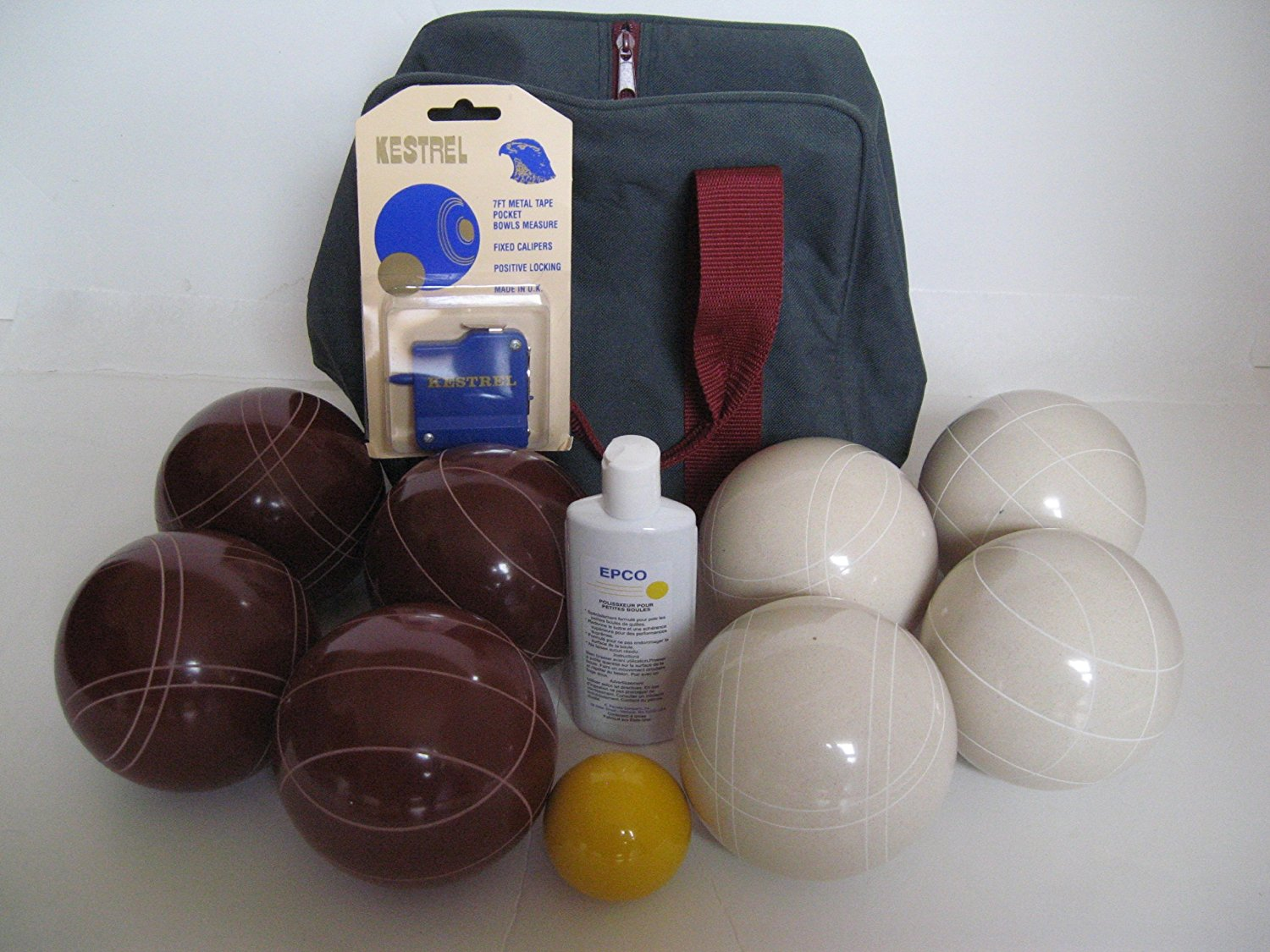Premium Quality Basic Epco Bocce Package - 110mm Red and White Balls, Quality Nylon Bag, Meas...
