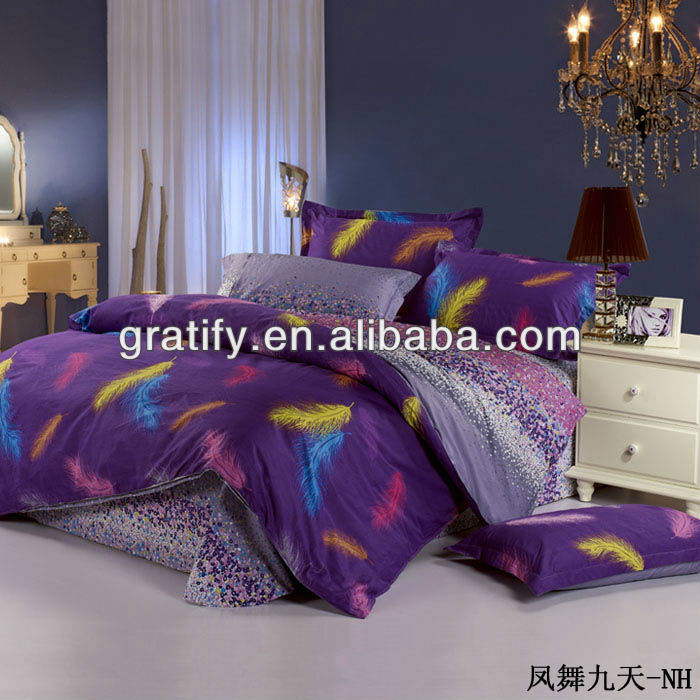 leather bed cover feather pattern