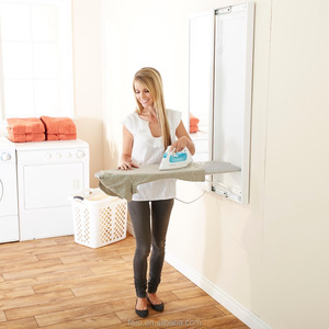 GZ-2 top grade wall mounted folding ironing board hidden in wooden solid cabinet with mirror