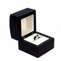 Small matte black lacquer finish wooden jewelry ring box