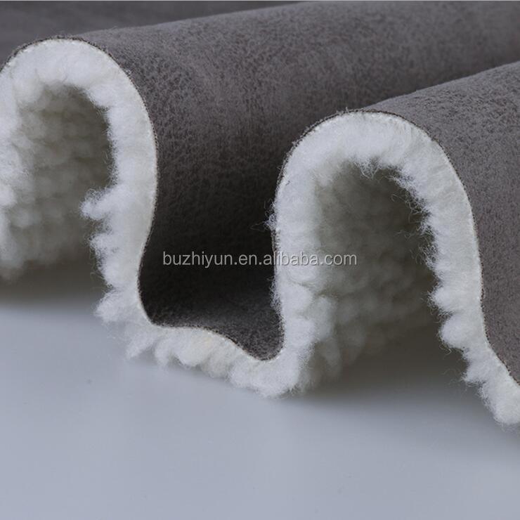 design suede laminated with fur sherpa fabric for winter garment