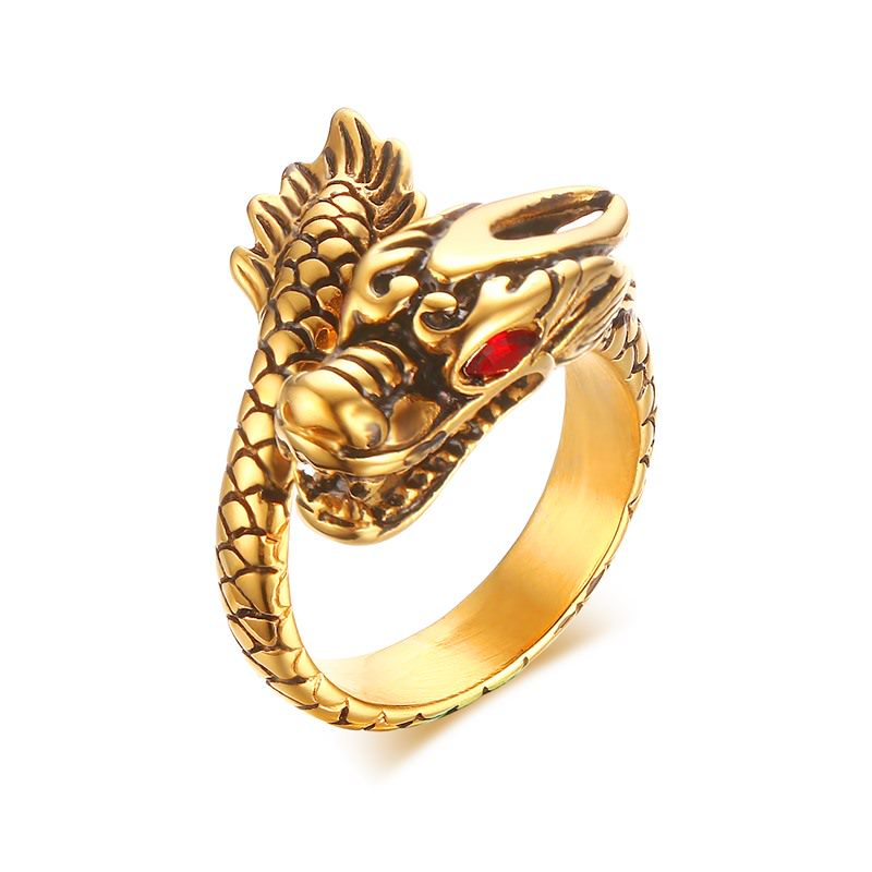 Yiwu Meise Stainless Steel Red Eyed Dragon Personality Ring
