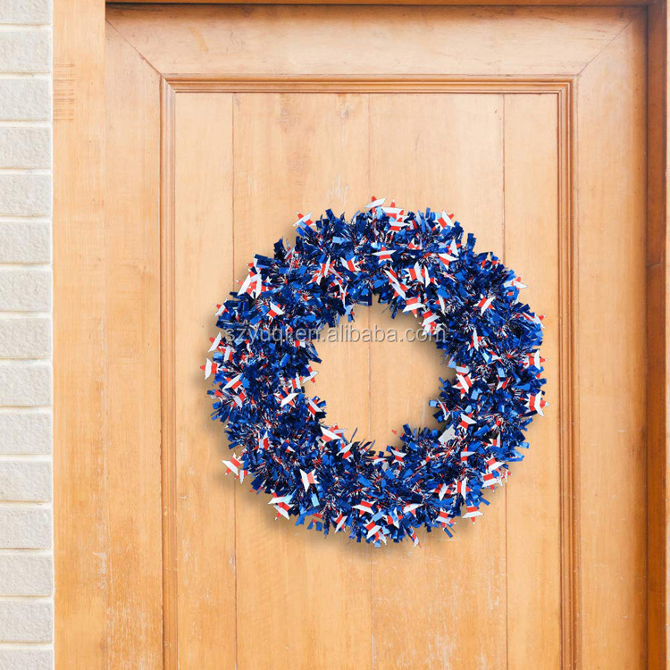 Amazon Top Seller 2019 Front Door Wreath American Flag Tinsel Wreath with Tinsel Garland for Independence Day Decorations