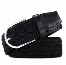 Fashion durable no punch stretch true leather knitted men's braided elastic belt with pin buckle