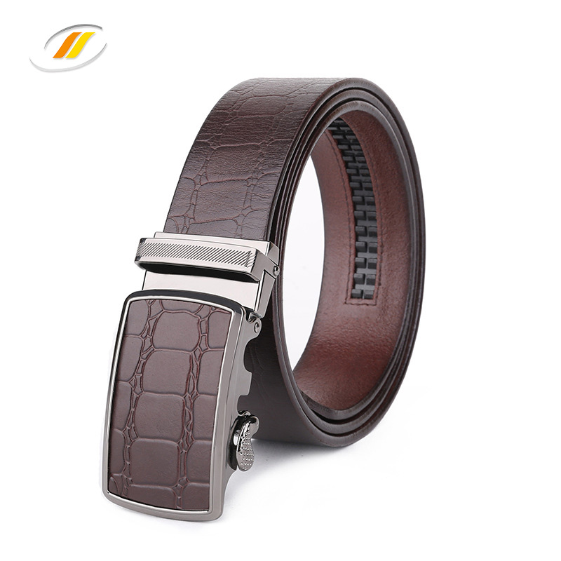 High quality automatic buckle cheap men's leather ratchet waist belts