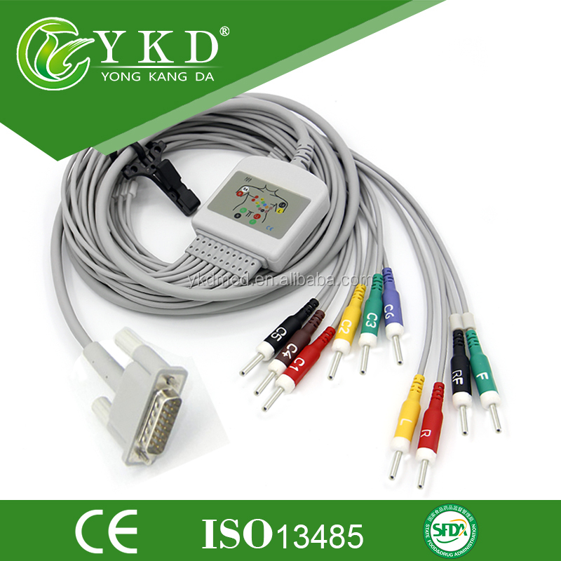 10 Leads Ekg Cable, AHA, Din3.0 Plug, CE Certificated , One Year Warranty, Quality Assured, Factory Outlet, for HP