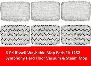 6 PACK Bissell 1252 Symphony Hard Floor Vacuum and Steam Mop Pad Kit Compatible by GENRT, Model: 1252, Hardware Store