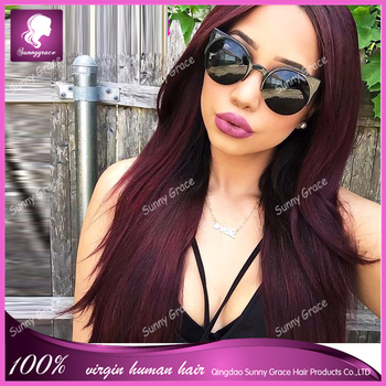 8A grade 100% human the virgin hair 99j human hair full lace wigs
