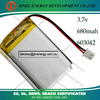 li ion 680mah battery 3.7v manufacturer with PCB and wire for electric toys