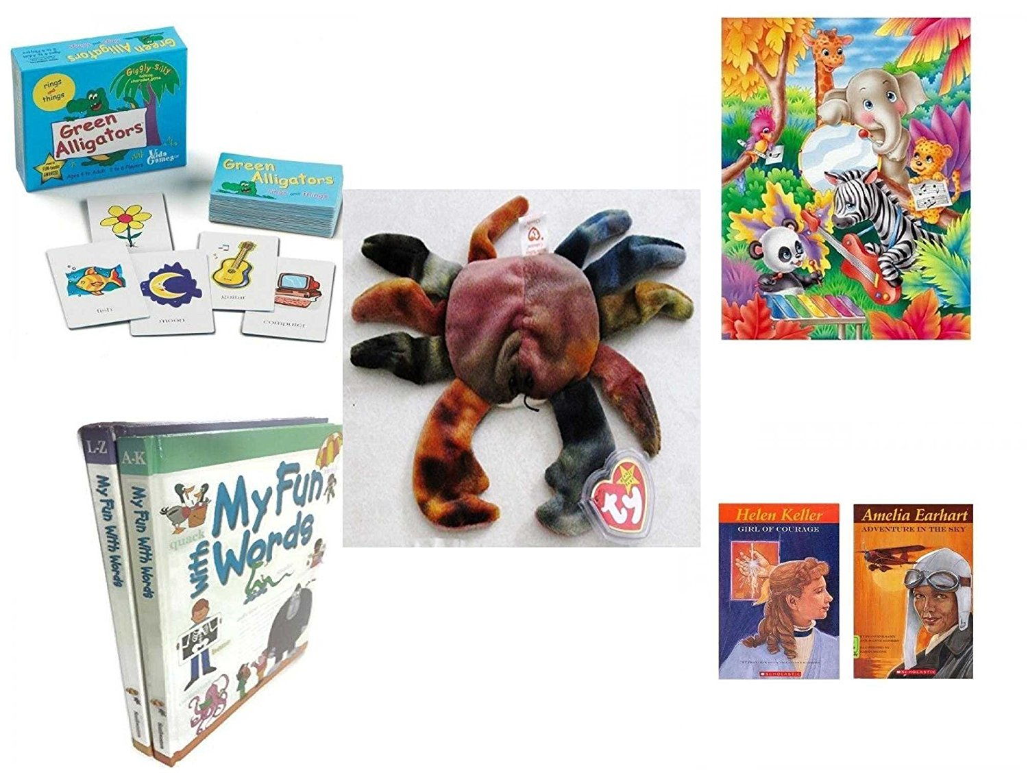 Children's Gift Bundle - Ages 3-5 [5 Piece] - Green Alligators, Zoo & Farm Animals Card Game - Jungle Music Puzzle 63 Piece Toy - Ty Teenie Beanie Baby - Claude the Crab - My Fun With Words Dictiona