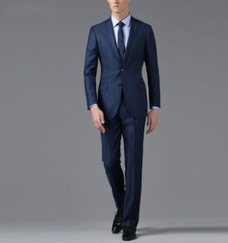 Men's Made To Measure Dark Navy Slim Fit Suit Made In Wool