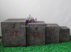 Industrial vintage metal storage trunk box