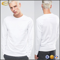 Ecoach cheap wholesale Pima Soft Cotton white long sleeve man t shirts with crew neck for casual wear