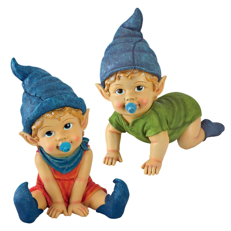 Garden Gnome Statue - Archibald & Blaze the Baby Gnomes Set - Lawn Gnome