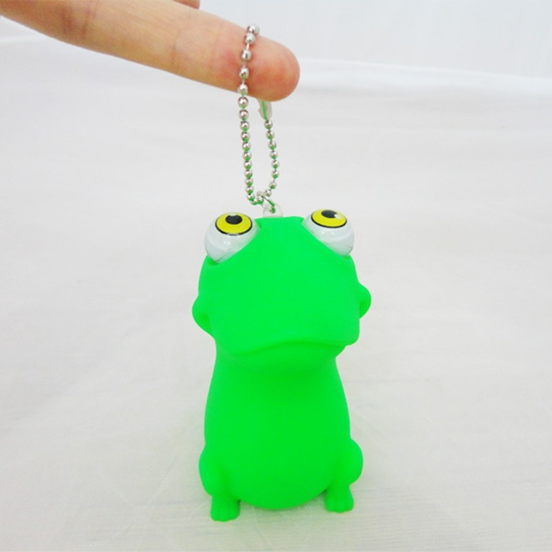 eco-friendly pop eyes squeeze plastic frogs with keychain