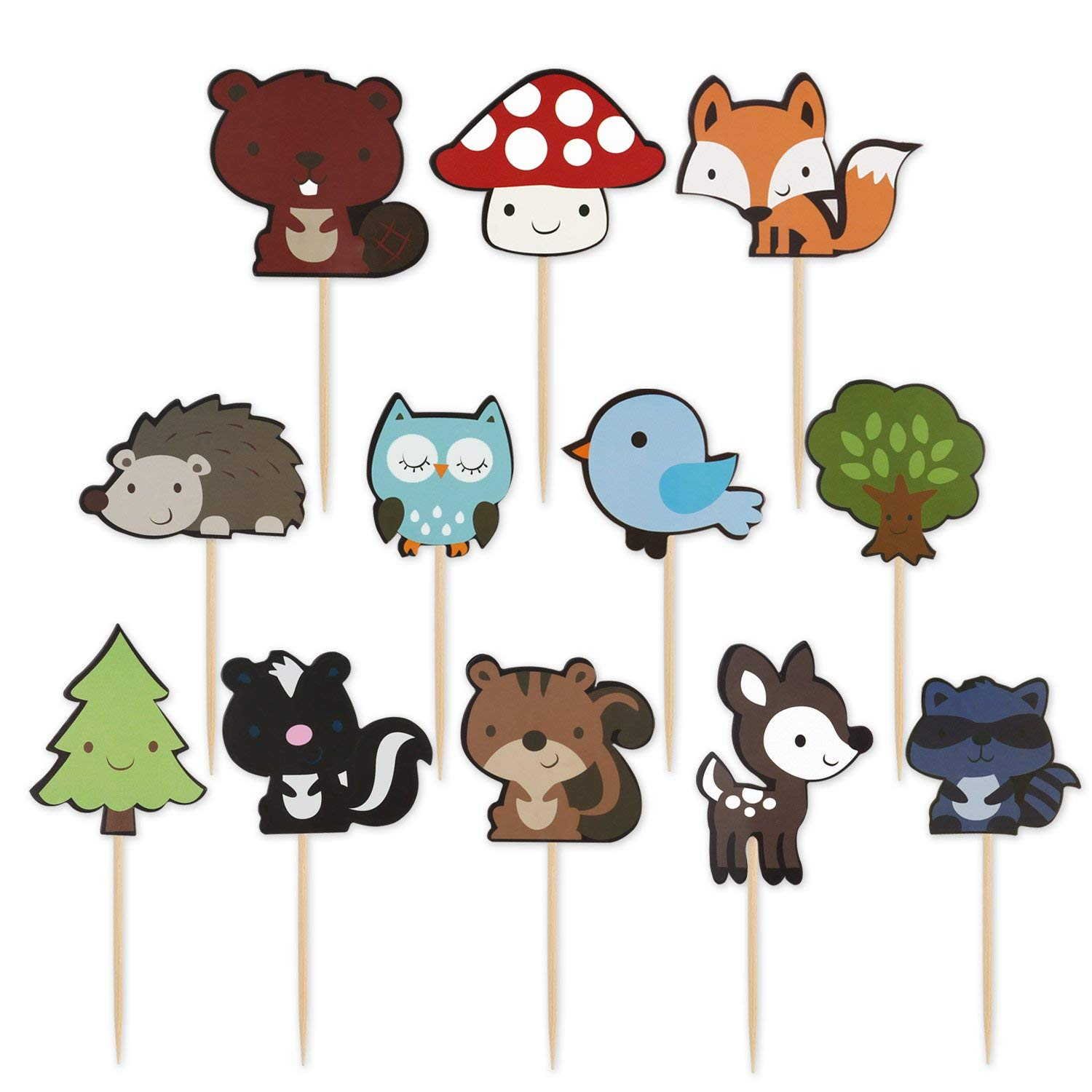 LUTER 48pcs Cute Woodland Creature Cupcake Toppers Jungle Animal Cake Topper Picks Safari Theme Party Decorations Bird Cupcake Topper for Kids
