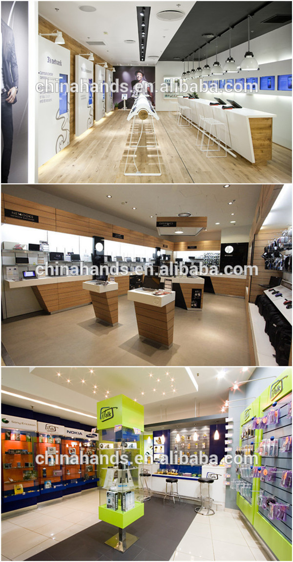 Wooden Mobile Phone Shop Wall Display Designs