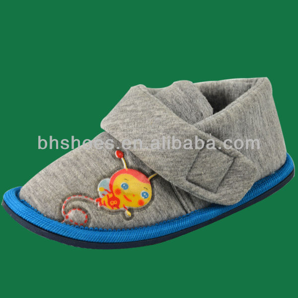 BHS096057 Cotton jersey embroidery kid shoe indoor shoes
