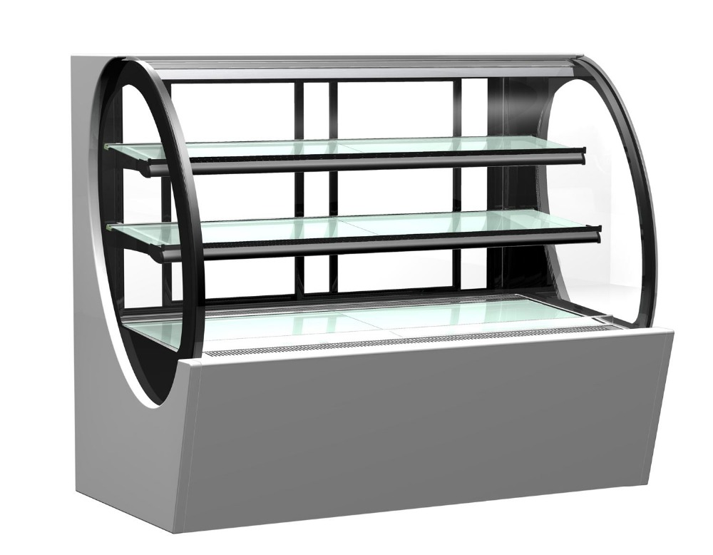 Bakery Stainelss Steel Cake Display Refrigerator Chiller Counter Curve Glass Cake Showcase Sushi Fridge