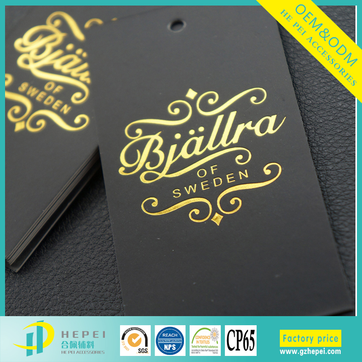 wholesale custom cheap black paper gold foil garment hang tag