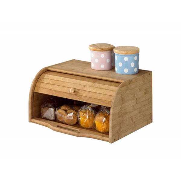 Natural Wooden Roll Top Bread Box Bamboo Kitchen Food Bread Storage Box 3