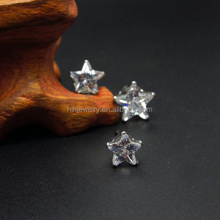 Fashion ladies stainless steel star crystal earring express ali jewelry