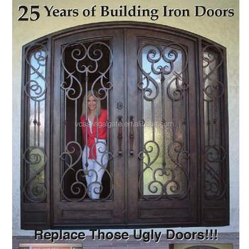 Eyebrow Top Wrought Iron Door Design With Glass Buy