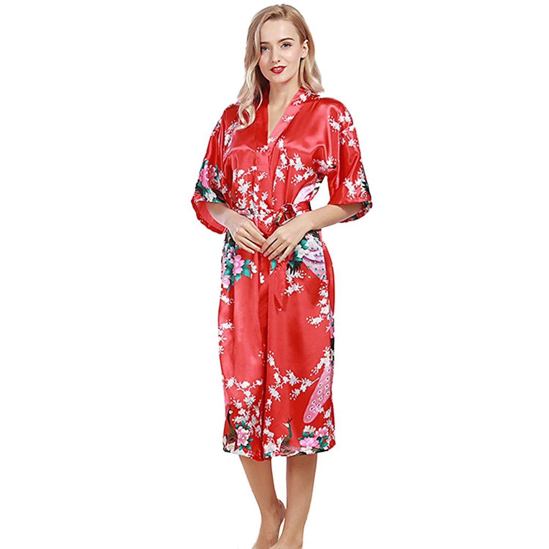 Get Quotations · JINGCHENG Women s Printing Peacock Kimono Robe Silk Bridal  Long Robe 8830415ca