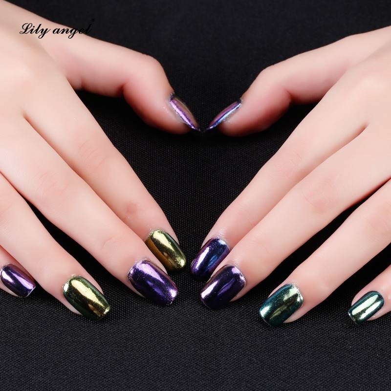 12 different Color chrome powder kit nails for nail pigment painting ...