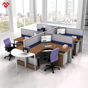 Modern 4 Person Office Workstation Cubicle With Aluminum Frame