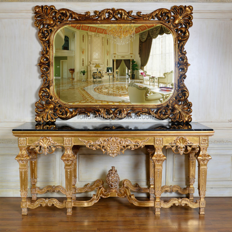 C19+PU662 Antique Style Living Room Large Console Wall Table with Mirror