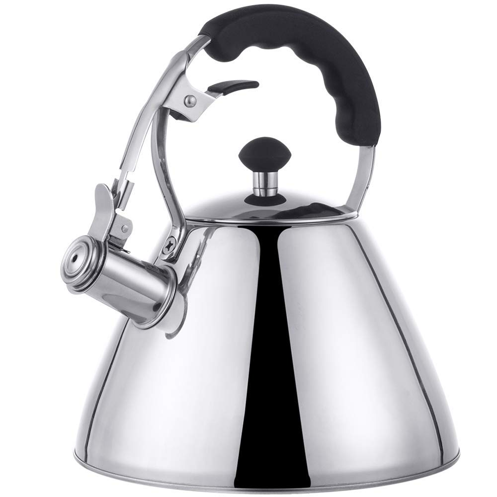 E-Gtong Stainless Steel Whistling Tea Kettle, 2.7 Quart Stovetop Tea Kettle with 5-ply Encapsulated Base and Heat-resistant Hand Grip, Fast Boiling, Outdoor Water & Camping Tea Pot