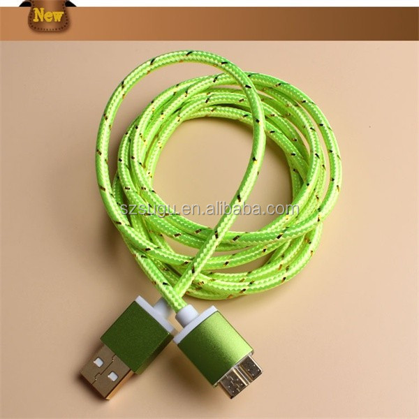 2016 Very beautiful copper alloy colorful fabric usb cable for sam, tablet pc, laptop.....