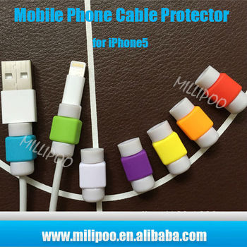 mobile phone accessories colorful cellphone usb cord protector silicone charging cable protector for iphone 4