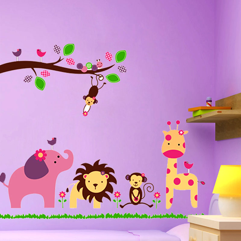 Very cute Animal tree wall decals home decoration wallpaper vinyl wall stickers for kids room home decor with a free keychain