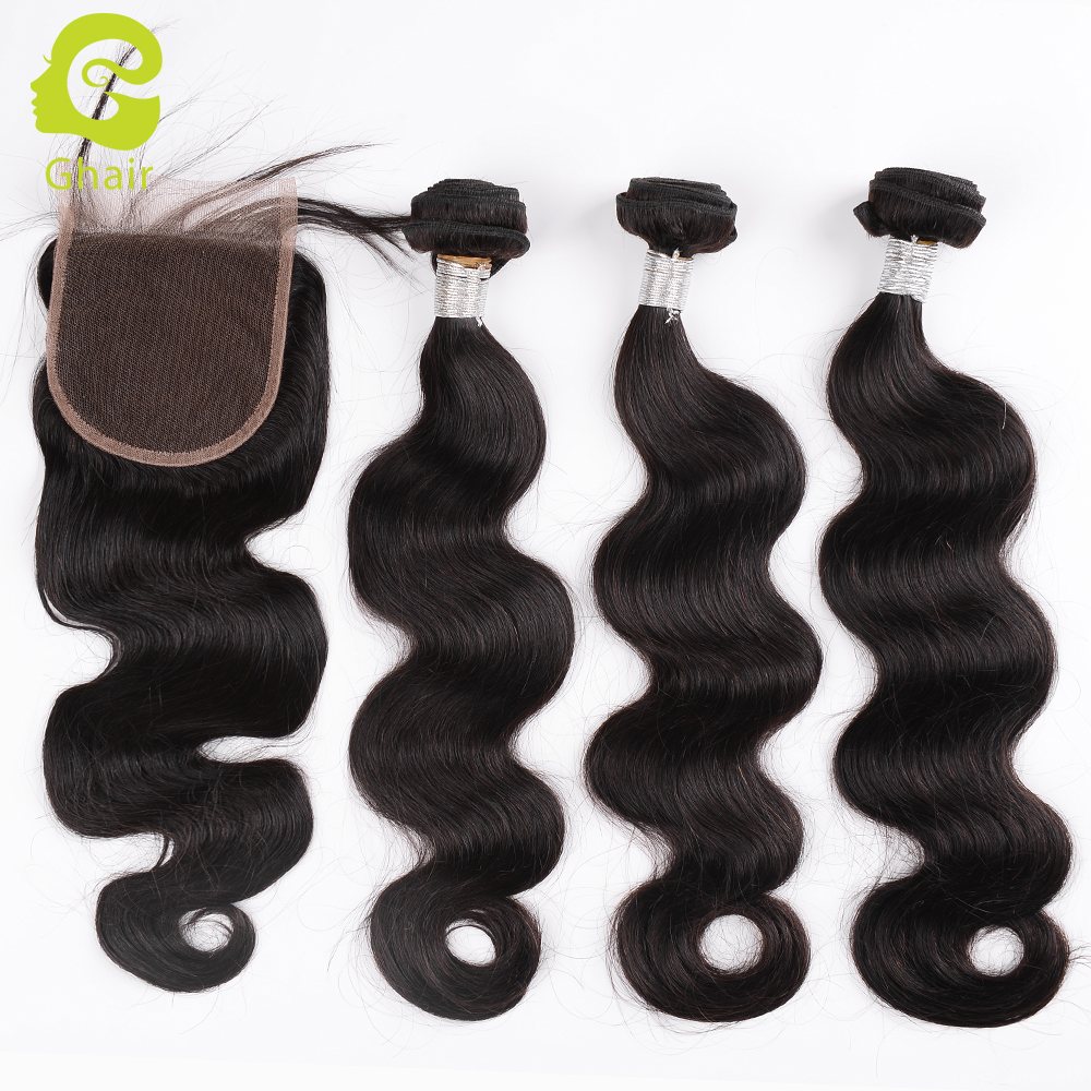 Human hair 3 bundles with closure body wave
