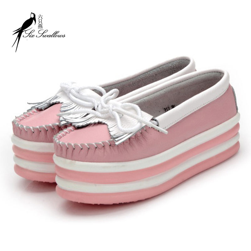 2015 New Arrival Women's Creepers Platform Shoes Spring /Autumn Flat Platform Shoes with Tassel in Black White Pink Yellow
