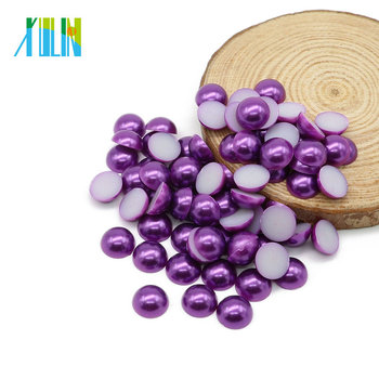 Faux Plastic Abs Pearls Flat Loose Beads For Jewelry Making Z47 Dark Purple